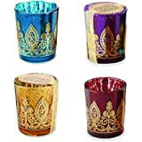 Kate Aspen Indian Jewel Henna Votives Assorted (Set of 4)