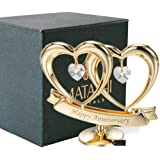 24K Gold Plated Double Heart with Happy Anniversary Banner with Clear-Cut Crystals