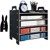 Marbrasse 5 Trays Wooden Desk File Organizer, Document Mail Paper Organizer Letter Tray Storage Shelf Sorter for Office Home