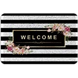 Classy Black White Stripes PVC Doormat Outdoor Indoor 24x36inch, Beautiful Floral Wire Loop Non-Slip Waterproof Floor Mats Ar
