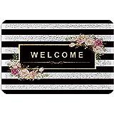 Classy Black White Stripes PVC Doormat Outdoor Indoor 24x36inch, Beautiful Floral Wire Loop Non-Slip Waterproof Floor Mats Ar