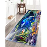 Memory Foam Mats Runner Rugs Carpet Beach Seashells Starfish Absorbent Non-Slip Soft and Cozy 2'x6' Dolphin