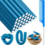 30 Pieces Flexible Curling Rods Twist Foam Hair Rollers Soft Foam No Heat Hair Rods Rollers and 1 Steel Pintail Comb Rat Tail