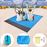 Beach Blanket Sand Camping Mat,Outdoor Travel Accessories & Pocket Zippered Portable Waterproof Family Picnic Mat for Travel,