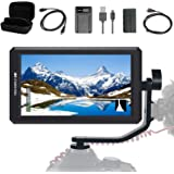 FEELWORLD F6+Battery+ Battery Charger + Micro&Mini HDMI Cords 5.7Inch FHD IPS On Camera 4K HDMI Monitor with Swivel Arm and 8