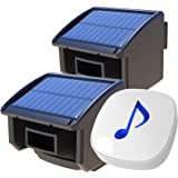 Htzsafe Solar Wireless Driveway Alarm System-1/4 Mile Long Transmission Range-Solar Powered No Need Replace Batteries-Outdoor