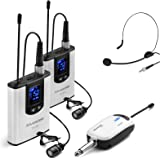 Wireless Headset Lavalier Microphone System -Alvoxcon Dual Wireless Lapel Mic for iPhone, DSLR Camera, PA Speaker, YouTube, P