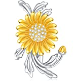 Yellow Gold Sunflower Brooch Pins Sterling Silver Sunshine Flower Brooch for Women