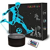 Soccer Night Light, 3D Optical Illusion Lamp for Football Fan, Idea Birthday Xmas Gifts for Sports Fan Boys Girls with Remote