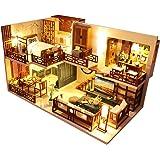 CuteBee DIY木製ドールハウス、QUIET TIME 、ミニチュアコレクション、LEDライト、オルゴール、プレゼ…