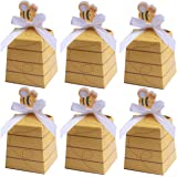 MeiMeiDa 60 Pack Bumble Bee Candy Boxes Treat Boxes Paper Beehive Gift Box with Ribbon for Bee Party Decoration Bee Birthday