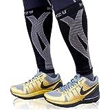 BLITZU Calf Compression Sleeve Leg Performance Support Shin Splint & Calf Pain Relief. Men Women Runners Guards Sleeves Runni
