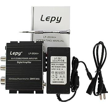 Lepy LP-2024A+(ブラック) デジタルアンプ+ACアダプタ12V5A(PSE認証取得済) LP-2020A 後続機(安心な6カ月保証付き)