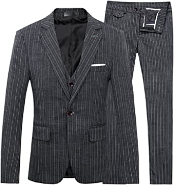[CEEN] スーツ スリーピース メンズ ストライプ ビジネス 細身 紳士 礼服
