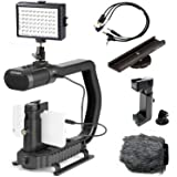 Sevenoak MicRig Video Bundle with Grip Handle, Stereo Microphone, 54 LED Light, Shoe Extender Bracket, Windscreen, Adapters f