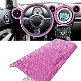 YGMONER 9000pcs Bling Crystal Rhinestone 9.4 x 7.9'' DIY Car Decoration Sticker hot Pink