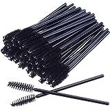 H HOME-MART 100 PCS Black Disposable Eyelash Brushes Mascara Wands Eye Lash Eyebrow Applicator Cosmetic Makeup Brush Tool Kit