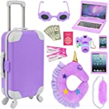 K.T. Fancy 16 pcs American Doll Accessories Suitcase Travel Luggage Play Set for 18 Inch Doll Travel Carrier, Sunglasses Came
