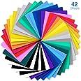 Heat Transfer Vinyl, Ohuhu 42 Pack Sheets Iron on Vinyl, 20 Assorted Colors HTV Vinyls Heat Transfer Vinyl for DIY Iron on Fa