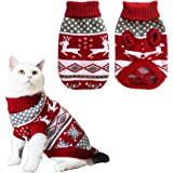 Vehomy Dog Christmas Sweaters Pet Winter Knitwear Xmas Clothes Classic Warm Coats Reindeer Snowflake Argyle Sweater for Kitty