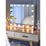 LUXFURNI Vanity Tabletop Makeup Hollywood Mirror Dimmable Light Touch Control 18 cold/Warm LED Lights, Detachable 3x Magnific