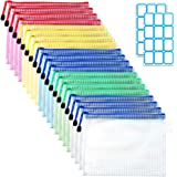 SANNIX 20枚セット ジッパー式ファイル袋 A5 5色 ファイル袋 ラベルシール付き 防水 領収書ファイル オフィス用品 整理収納