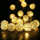 Rattan Ball String Lights,Globe Fairy Light Battery Powered 8ft 20 LED Indoor Outdoor Warm White Light for Party,Weedings,Chr