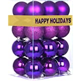 Christmas Balls Ornaments for Xmas Tree-Shatterproof Christmas Tree Decorations Large Hanging Ball Purple 2.5""