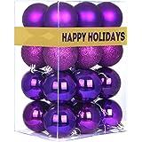 "GameXcel Christmas Balls Ornaments for Xmas Tree - Shatterproof Christmas Tree Decorations Perfect Hanging Ball Purple 1.6"" x"