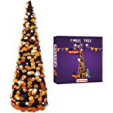 Fovths 5 Feet Halloween Collapsible Artificial Tree, Pop Up Small Thin Black Tinsel Orange Pumpkin Sequin with 60 String Ligh
