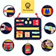 Mia Bambina Toddler Busy Board - Montessori Basic Skills Activity Board for Fine Motor Skills & Learning to Dress - Education