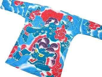 【唐獅子牡丹 刺青風・新橋ブルー】 東京いろはオリジナルの鯉口シャツ 男女兼用 (L 大サイズ)