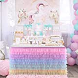 Rainbow Tulle Table Skirt Unicorn Tutu Table Skirts for Kids Party Baby Shower Girl Birthday Unicorn Room Decorations (10 Lay