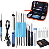 Slowton Electric Soldering Kit, Adjustable Temperature Soldering Iron with 5 Point Tool Carrying Box 2 Clamps for Different B