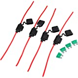 Oyviny 12AWG Inline Fuse Holder with 30A Standard Size Blade Fuse(4 Pack), Waterproof ATC/ATO 30AMP Automotive Fuse Holder fo