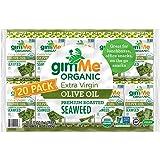 gimMe Snacks - Organic Roasted Seaweed - Extra Virgin Olive Oil - (.17oz) - (Pack of 20) - Non GMO, Gluten Free, Keto, Paleo