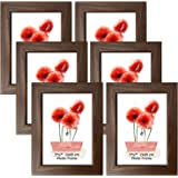 Schliersee 5x7 Picture Frames Set Rustic 5x7 Frame Fits for 5 by 7 Photos for Wall Desktop Display, Brown, 6 Packs