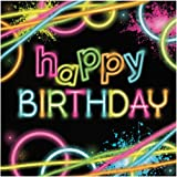 Creative Converting 16-Count Paper Lunch Napkins, Happy Birthday, Glow Party