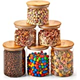 EZOWare 6 Piece Clear Glass Jars Air Tight Canister Kitchen Food Storage Container Set with Natural Bamboo Lids for Candy, Co