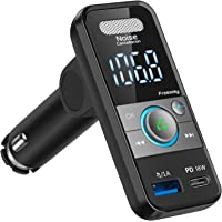 【最新ワンボタンノイズ軽減】FMトランスミッター シガーソケット 車載充電器 Bluetooth5.0 PD18W急速充…