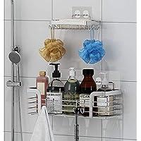 浴室ラック 石鹸置き 浴室用ラック 収納ラック 粘着式 洗面所ラック ステンレス キッチン収納 小物整理 ホルダー 壁掛…