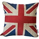 "The Union Jack British Flag Cotton Linen Square Decorative Throw Pillow Case Cushion Cover 46cm X18 """