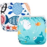 Alva Baby Swim Diapers Large Size 2pcs Pack One Size Reuseable &Adjustable 0-36 mo.Size 18-55lbs ZDYK05-06