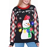 Camlinbo Light Up Women's Christmas Sweater, Snowman Santa Hat Ugly Sweater Knit Holiday Funny Sweatshirt