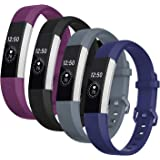 Welltin Bands Compatible with Fitbit Alta/Alta HR for Women and Men(4 Pack), Classic Soft Silicone Sport Strap Wristband for