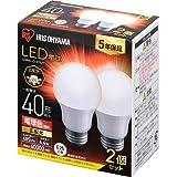 アイリスオーヤマ LED電球 口金直径26mm 広配光 40W形相当 電球色 2個パック 密閉器具対応 LDA4L-G…
