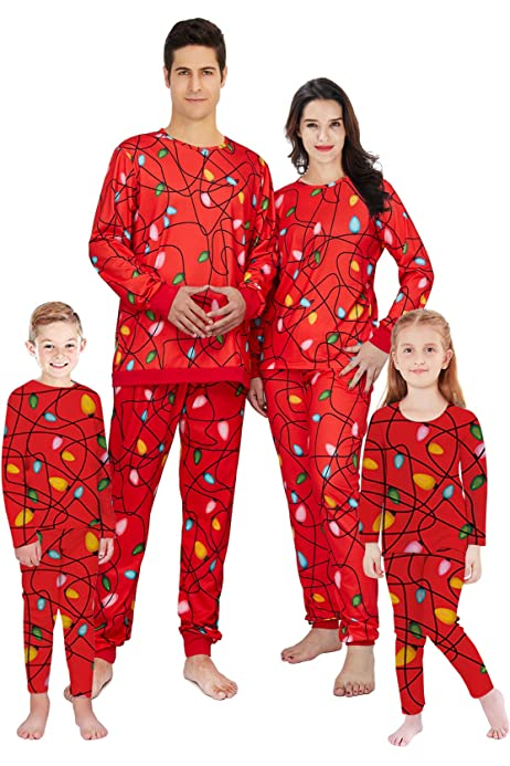 uideazone Family Matching Christmas Pajamas Set Top and Long Pants Sleepwear Homewear PJ Sets