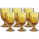 Coloured Water Goblet Vintage-Inspired Pattern Glass Wedding Goblet (Beige)