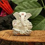 CraftVatika Silver Plated White Terracotta Appu Ganesha Statue God Ganesh Idol for Car Dashboard Ganpati Murti Figurine Gifts