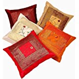 Rajasthali Indian Ethnic Hand Embroidery Decorative Silk Pillow Cushion Cover Set of 5 Pcs Size 41cm X 41cm